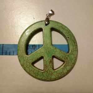 Jewelry - Green Peace Sign Pendant Emblem for Necklace